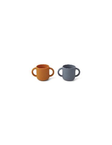 Ensemble de 2 tasses à anses en silicone lapin - Liewood